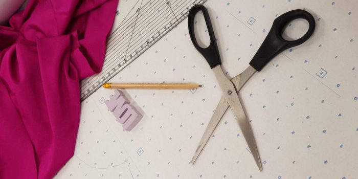 Fabric, Scissors, Eraser, Pencil, Spot and Cross Paper, Patternmaster Tools for Pattern Cutting